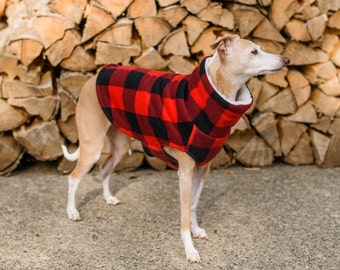 Italian Greyhound Red Black Lumberjack Check Fleece Dog Sweater. Dog Clothing. Italian Greyhound Clothing. Coat. Dog Apparel.