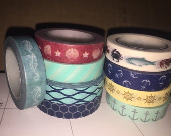 Nautical Ocean Seahorse Washi Tape Sampler