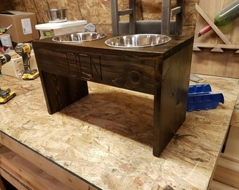 Personalized wooden dog food stand