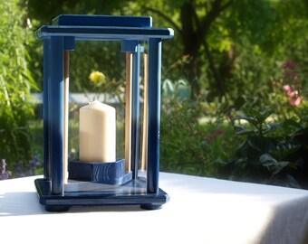 Decoration light, wood, blue, height 28 cm
