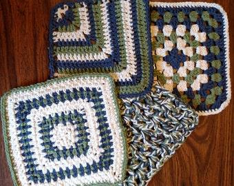 Handmade crochet dishcloth set