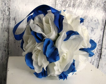 Wedding pomander Royal blue and white Flower girl kissing ball Wedding decorations