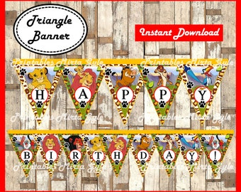 The Lion King Banner, printable The Lion King party Banner, The Lion King triangle Banner