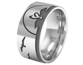 Landscape Band Ring, Nature Band Ring, Silver Band Ring, Swan Wedding Ring, Silver Wedding Ring, Bird Ring, Dolphin Ring, Wedding Band Ring