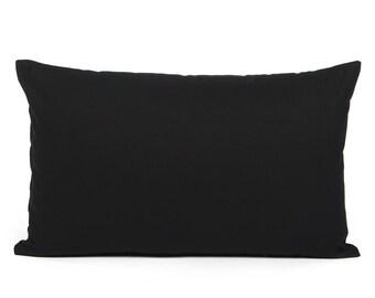 """12""""X20"""" Solid Black Rectangular Lumbar/ Oblong/ Throw Pillow Cover"""