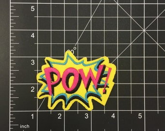 Cool Neon POW Iron on Patch Free Shipping!!