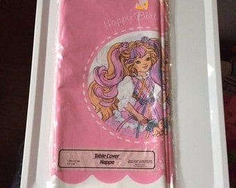 1989 NIP Lady Lovelylocks Happy Birthday Party table cover tablecloth sealed