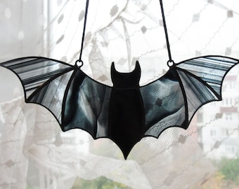 Halloween Window Decoration Stained Glass Bat Suncatcher