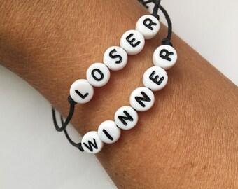 """Custom Handmade Bracelet ~ Your choice of beaded """"mature"""" word bracelets: Winner or Loser"""