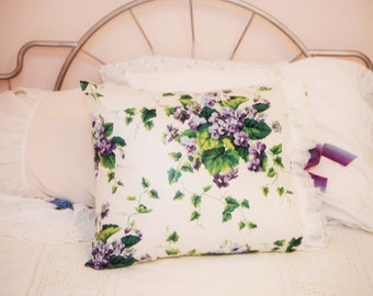 violet covered chintz pillow sham with lace trim and ribbon closure