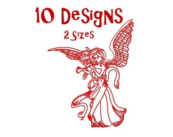 Redwork Angels Machine Embroidery Design Pack, PES Format, Red work Angels  Embroidery Design