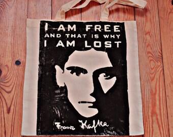 Mr. Kafka - woodblock printed bag