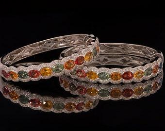 18k White Gold 10.8 ct Sapphire Hoop Earrings, Diamond Earrings, Gold Hoop earrings, Multistone earrings, Sapphire Jewelry