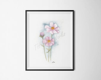 Cosmea Bloom / Watercolor / Floral / Cosmos / Pink Flower / Painting / 4x6, 5x7, 8x10, 11x14 / Print