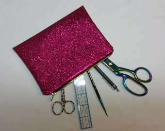 Small make up bag/pencil case - pink sparkles