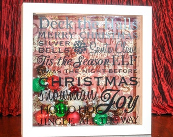 Box Frame - Festive Sentiments Text With Christmas Baubles
