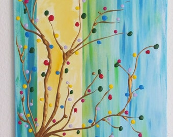 Abstract acrylic painting colorful tree 40 x 60 cm