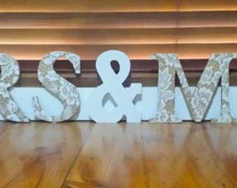 Mrs and Mrs Wooden Lace Letters