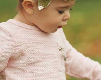 Brown and gold glitter 18 months to Toddler bow headband