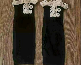 Black and lace infant leg warmers