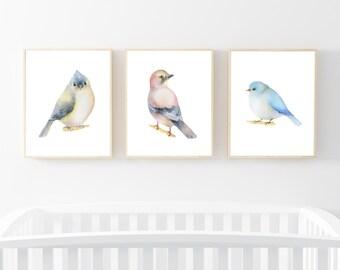 "Bird Watercolour Print set of 3 11x14"", Printable Art, Watercolour art, Nursery Decor, Nursery Print, Baby Shower Gift, Birds Illustration"