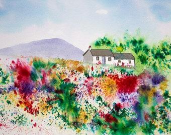 Original Brusho painting of a Scottish Highland Croft, with wild flower garden