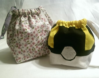 Double Pokeball Reversible Square-bottom Drawstring Bag