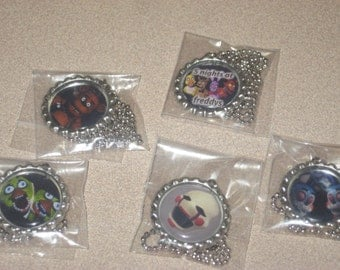 5 five nights at freddys fnaf bottlecap necklace party favors for loot bag lot of 10
