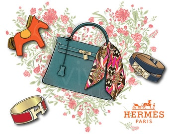 Fashion poster, Hermes Kellybag, rodeo charm, fashion print, fashion illustration, Handbag illustration, fashion graphic