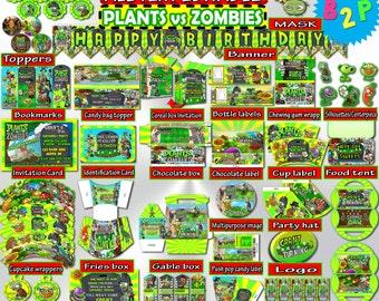 Plants vs Zombies Birthday Kit, Editable Birthday Kit, Birthday Decorations Printable, Birthday Party Set, Birthday Instant Download
