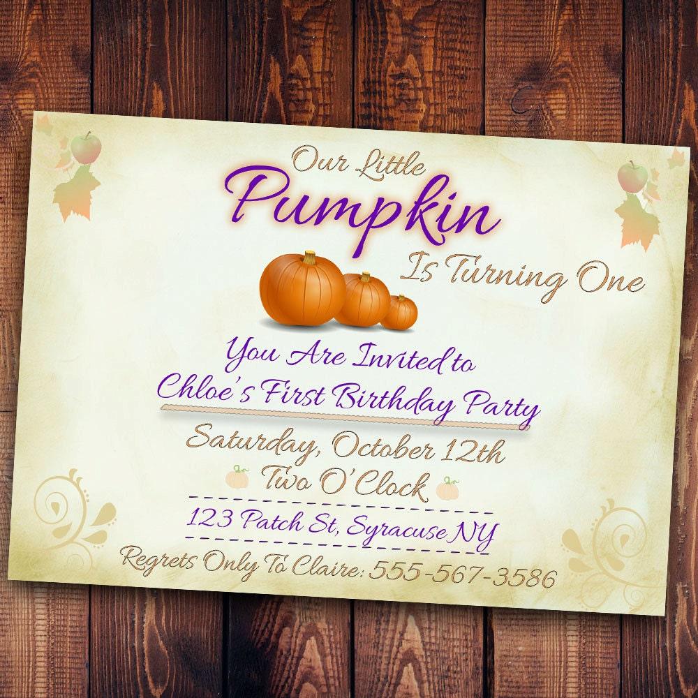 Pumpkin Birthday Invitation, Our little pumpkin [E10261624441554519M ...