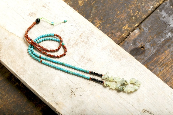 ZEN long necklace green Prénhite - Turquoise - black Onyx - Glass pearls tans