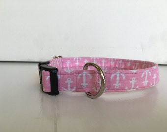 Pink Anchors Away Dog Collar
