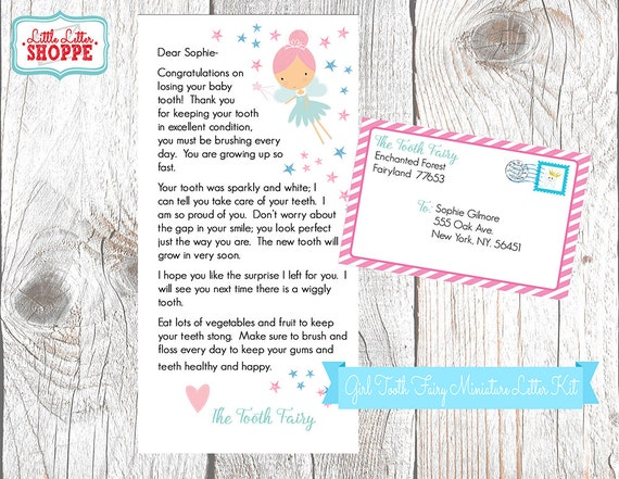 INSTANT DOWNLOAD EDITABLE Tooth Fairy Miniature Letter