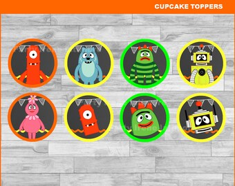 Yo Gabba Gabba cupcakes toppers Instant download Yo Gabba Gabba Chalkboard toppers Yo Gabba & Yo gabba gabba tags | Etsy