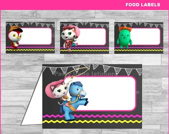 Sheriff Callie food labels Instant download, Sheriff Callie Chalkboard food tent cards, Sheriff Callie food tent cards