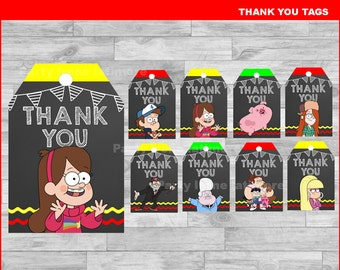 Gravity Falls Thank you Tags Instant download, Gravity Falls Chalkboard tags, Gravity Falls party Thank you Tags