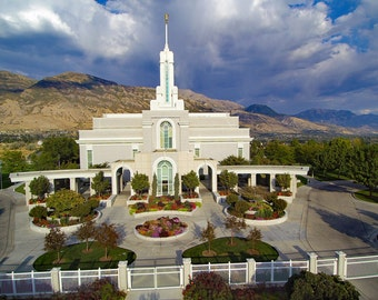 LDS Temple Mount Timp LDS Temple Aerial  view High quality Drone Photo download