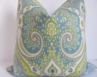 Latika Green Blue Pillow Cover, Kravet Pillow Cover, Designer Pillow, Light Blue Pillow Cover, Accent Pillow Cover, Latika Pillow