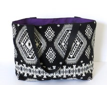 Aztec Fabric Tote Bag - Handmade Shopper, Black and White, Purple, Canvas, LoadedBobbins