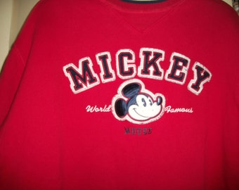 Vintage 80s Mickey Mouse Red SweatShirt Size L