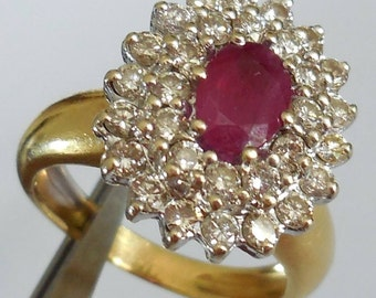 ring 18 ct gold, 750, Ruby, diamonds