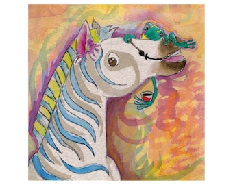 Canvas printed from original watercolor pony or Zebra baby? said the frog