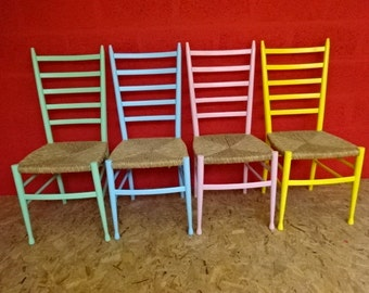 CHAIRS SALE****4 Italian beech & wicker dining chair's Was 220.00 Reduced price 200.00
