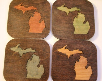 Set of four wood, Michigan mitten coasters