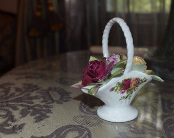 Old Country Roses Ceramic Basket