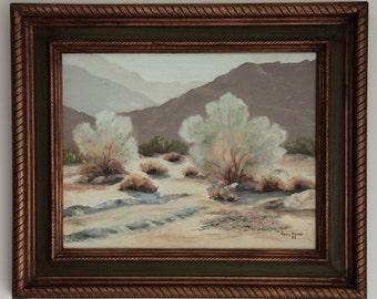 Framed Plein Air Acrylic on Canvas • Desert/Mountain Scape (SoCA?) • Artist Seira(?) Marie • 1982