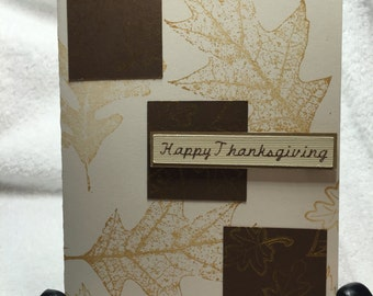 Thanksgiving Card - FALL SPECIAL, Fancy Handmade Card, Gold Leaf Card