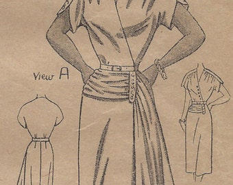 1940s Vintage Sewing Pattern B38 DRESS (1261)  Home Journal Pattern  8217