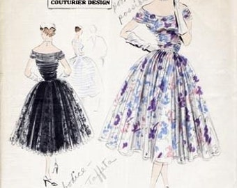 1952 Vintage VOGUE Sewing Pattern B34 DRESS (1120) Vogue 677